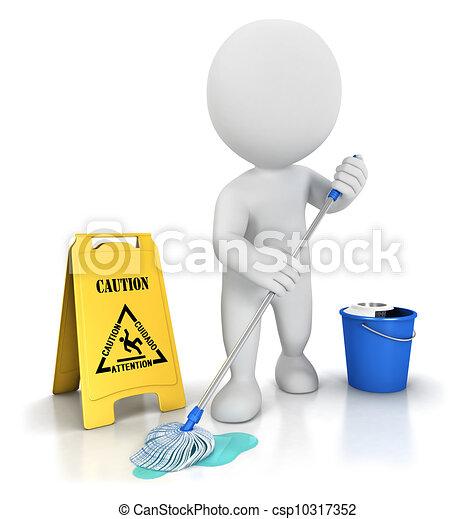 pulitore, bianco, 3d, persone - csp10317352