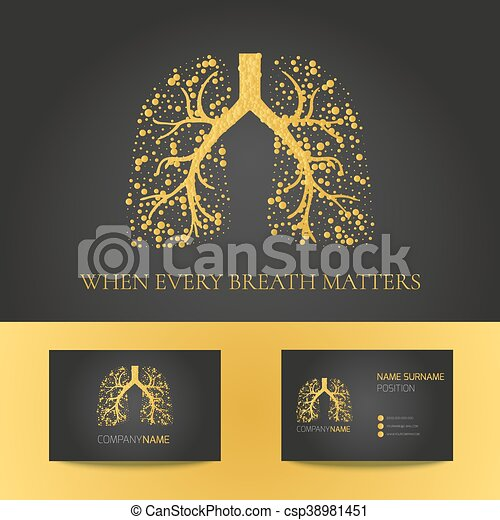 Pulmonary clinic business card. Medical business card template with ...