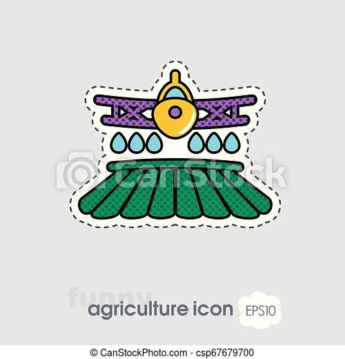 pulvérisation, ferme, chiffon, récolte, champ, avion, icône - csp67679700