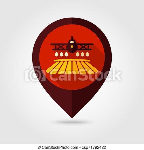 pulvérisation, ferme, chiffon, récolte, champ, avion, icône - csp71792422