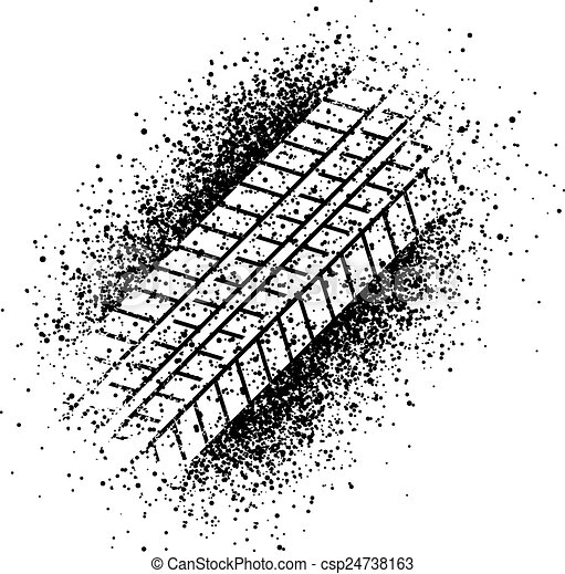 pulvérisation, vecteur, pneu, trace - csp24738163