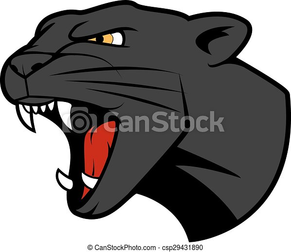 puma head with bared teeth aggressive puma or panther head eps rh canstockphoto com Cartoon Panther Clip Art Panther Face Clip Art