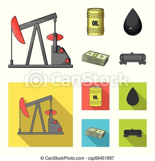 Pump, barrel, drop, petrodollars. Oil set collection icons in cartoon, flat style vector symbol stock illustration web. - csp56451897