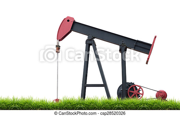 pumpjack with green grass isolated - csp28520326
