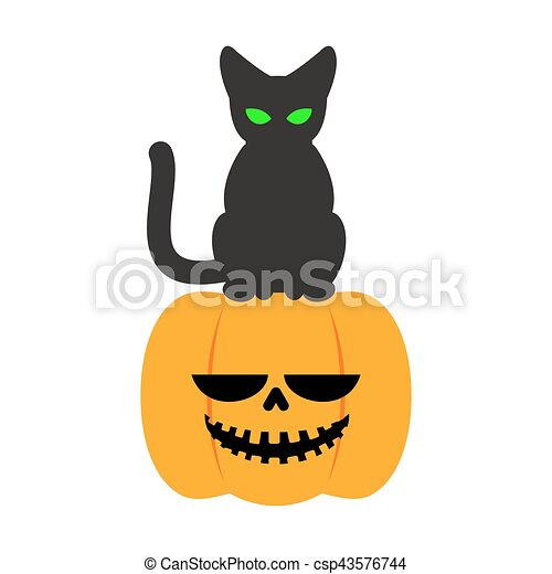 Pumpkin And Black Cat Halloween Symbol. Terrible Holiday   Csp43576744