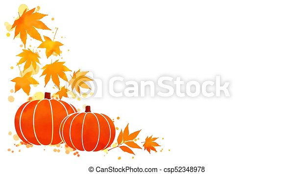 pumpkin and fall leaves watercolor background corner border of