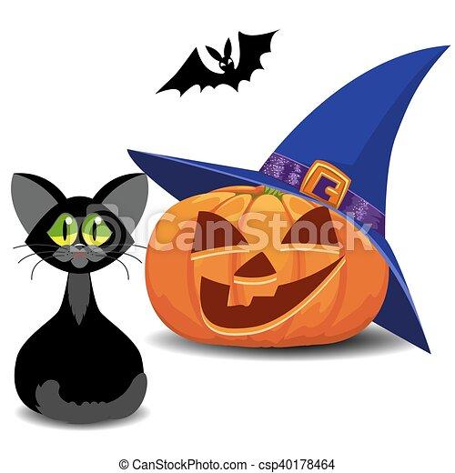 Pumpkin, Bat And Cat. Halloween.   Csp40178464