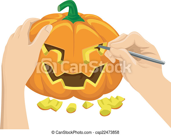 pumpkin carving cropped illustration featuring a hand clipart rh canstockphoto ie pumpkin template clipart pumpkin carving contest clipart