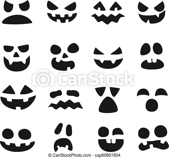 Pumpkin Faces Halloween Evil Devil Face Scary Smile Mouth Spooky