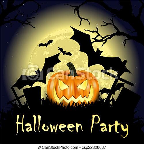Pumpkin Halloween Card - csp22328087