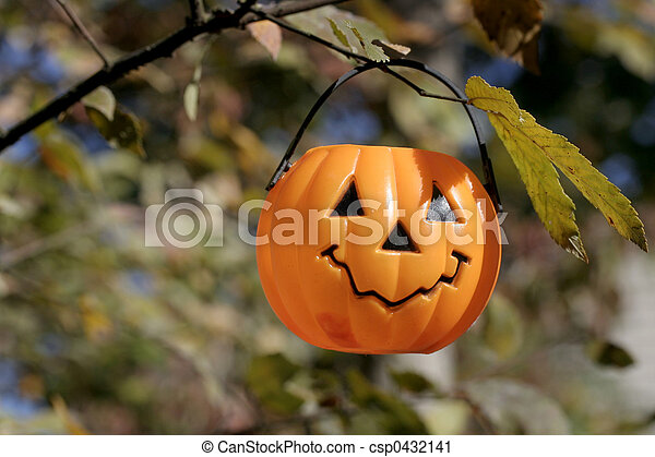Image result for images of plastic jack-o-lantern hanging from tree