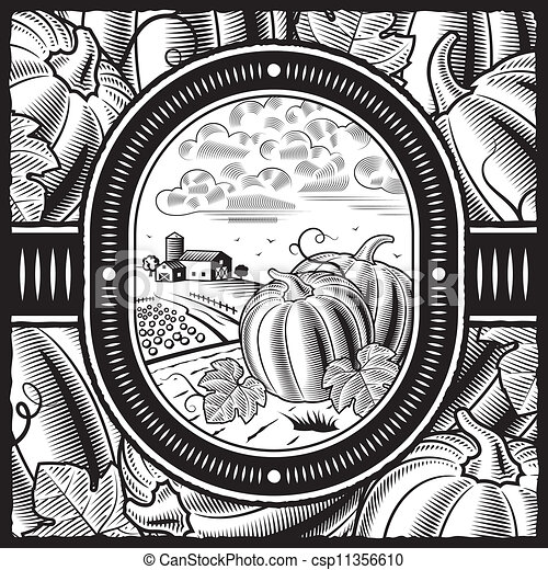 Pumpkin harvest black and white csp11356610