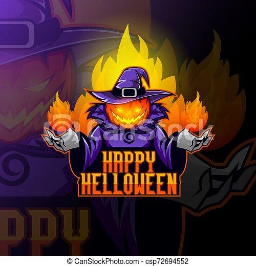 Pumpkin head in a witch's hat - csp72694552