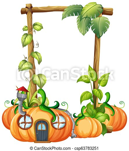 pumpkin in nature frame illustration can stock photo
