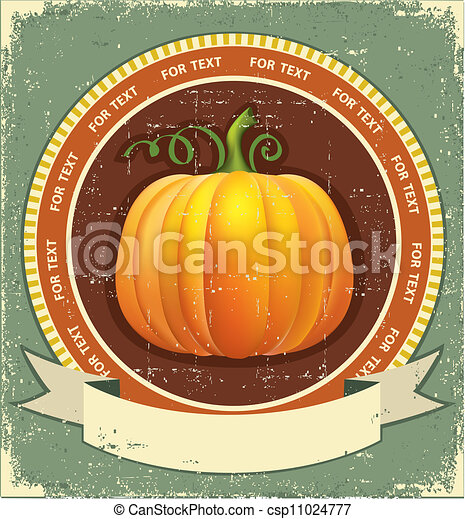 Pumpkin label with scroll for text.Vector vintage icon on old paper texture  - csp11024777