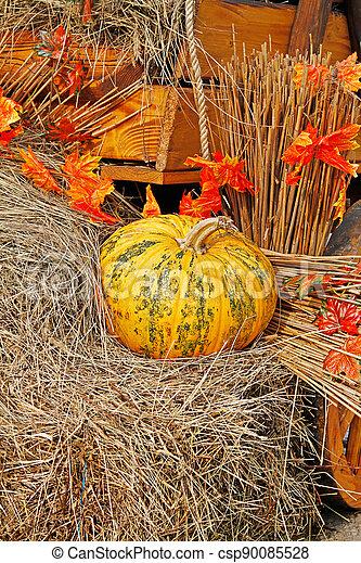 Pumpkin on straw as autumn decoration at market place - csp90085528