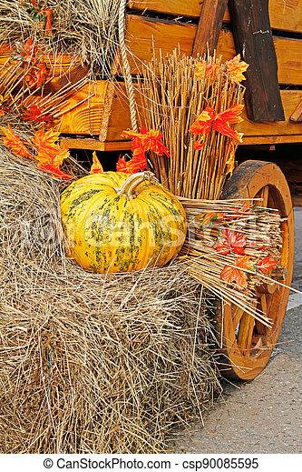 Pumpkin on straw as autumn decoration at market place - csp90085595