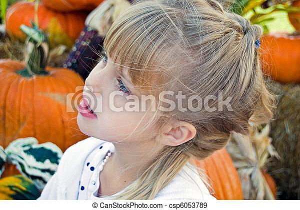Pumpkin Patch Girl - csp6053789