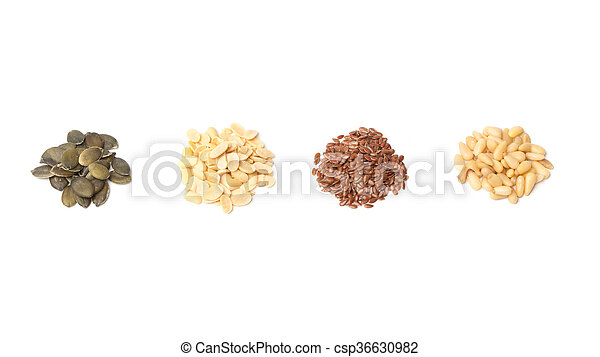 Pumpkin, peanut, linseed, pine seeds on white - csp36630982