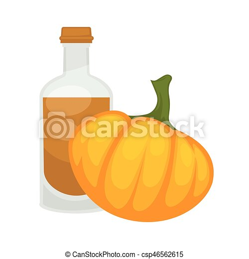 Pumpkin seed oil in bottle. Vector flat isolated icon - csp46562615