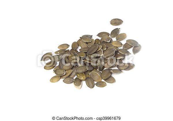 Pumpkin seeds on white background - csp39961679