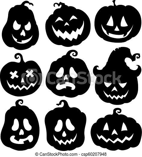 Pumpkin Silhouettes Theme Set 3 Eps10 Vector Illustration Canstock The pumpkin is one off the most recognizable and best halloween decoration. https www canstockphoto com pumpkin silhouettes theme set 3 60207948 html