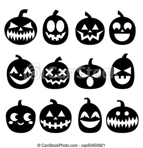 Halloween Pumpkin Vector.Pumpkin Vector Icons Set Halloween Scary Faces Design Set Horror Decoration In Black On White Background
