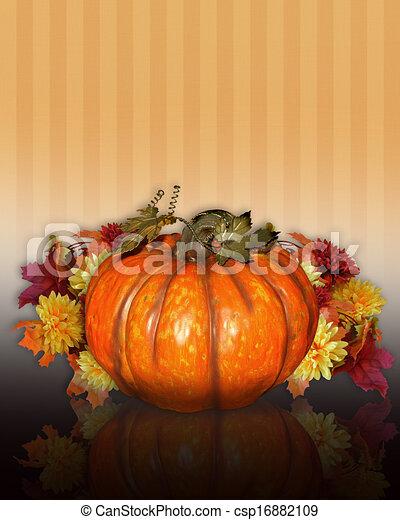 Pumpkin with Fall flowers - csp16882109