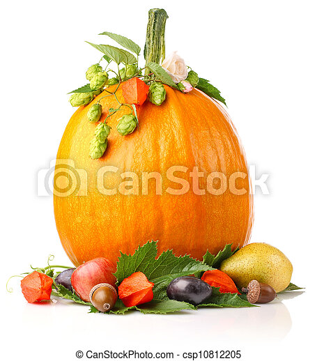pumpkin with fruits and flower - csp10812205