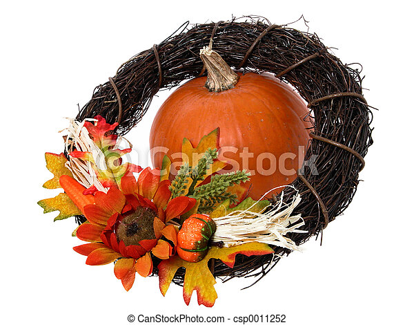 Pumpkin & Wreath - csp0011252
