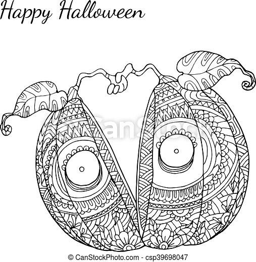 Pumpkin Zentangle In Halloween Pumpkin Zentangle Vector In Halloween Pumpkin Vector By Hand Drawing