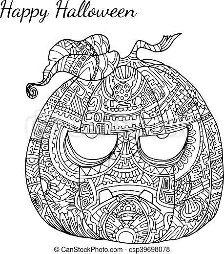Pumpkin Zentangle Vector In Halloween Pumpkin Vector By Hand Drawing