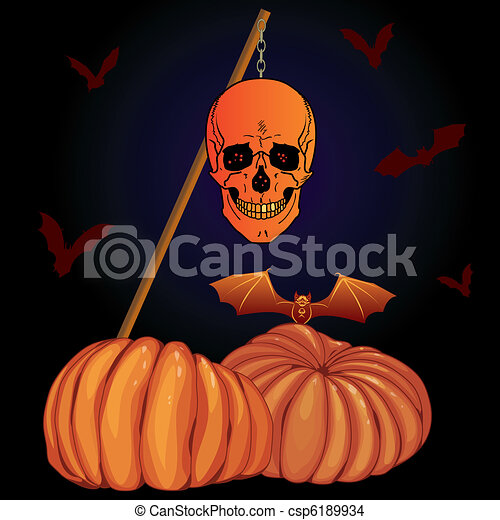 vector halloween illustration with pumpkins bats and skull eps 10