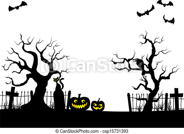 pumpkins in a full moon night at cemetery vector illustration of