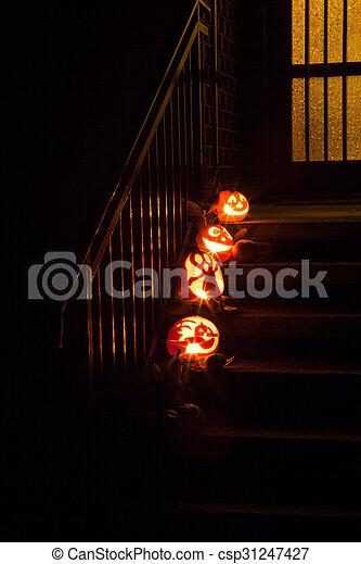 Pumpkins on door steps - csp31247427