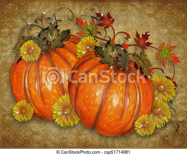 Pumpkins rustic Fall background - csp51714981
