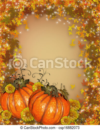Pumpkins with Autumn leaves - csp16882073
