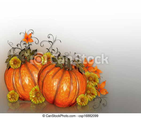 Pumpkins with Fall flowers - csp16882099