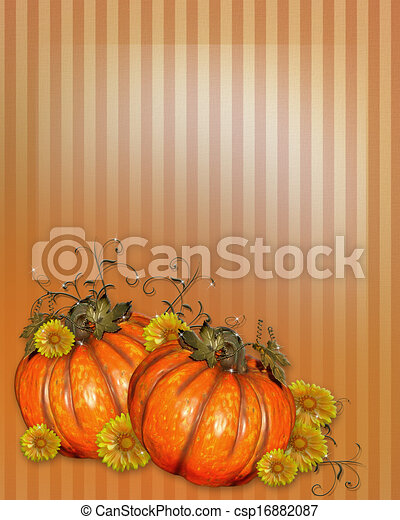 Pumpkins with Fall flowers - csp16882087