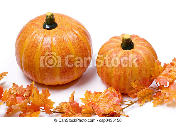 Pumpkins with fall leaves - csp0436158
