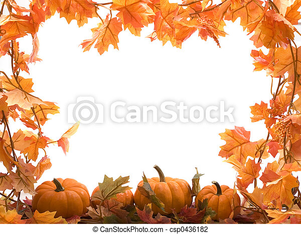Pumpkins with fall leaves - csp0436182