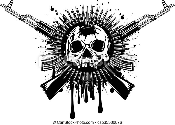 punched skull with crossed machine gun - csp35580876