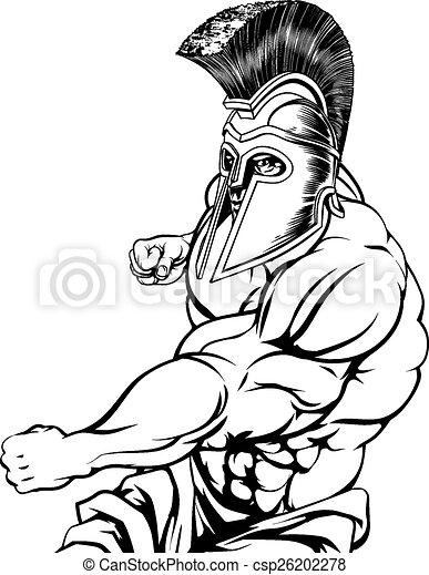 Punching gladiator mascot - csp26202278