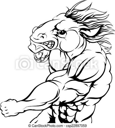 Punching horse mascot - csp22897059