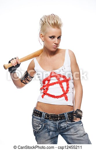 Punk girl with a bat isolated on white. - csp12455211