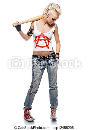 Punk girl with a bat isolated on white. - csp12455205