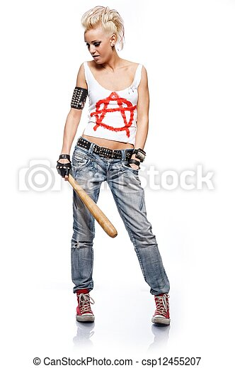 Punk girl with a bat isolated on white. - csp12455207