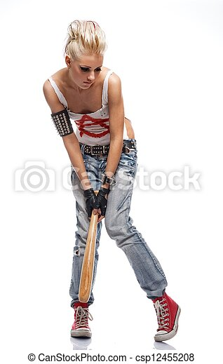 Punk girl with a bat isolated on white. - csp12455208