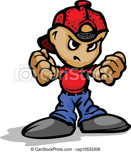 Punk Kid with Ball Cap on Backwards showing Fists Vector Cartoon - csp10533306