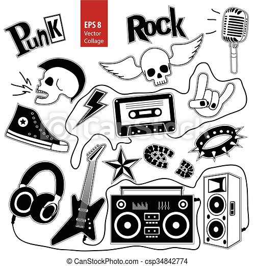 Punk Rock Music Vector Set Isolated On White Background